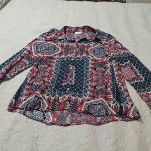 Milano Women's Pattern Long Sleeve Blouse